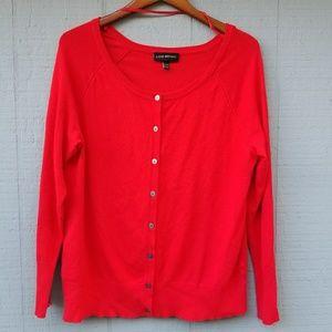 Lane Bryant Solid Red Crewneck Cardigan Sweater 14